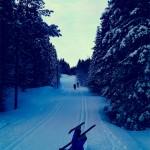 Pappa og Olai på en mil lang skitur på lørdag fra Prestvannet til Skihytta T/R.